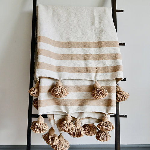 Morrocan Handwoven Blanket with awesome pom poms