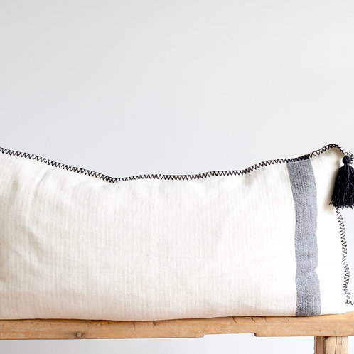 Ivory Woven Lumbar Pillow with Pom Poms