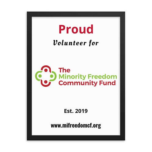 MFCF Proud Volunteer Framed poster copy