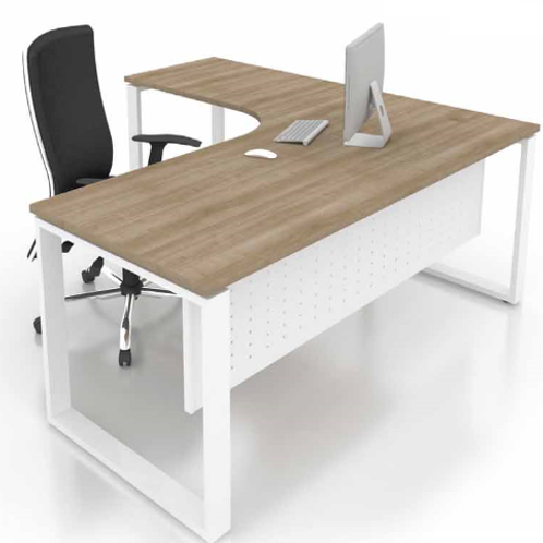 L shape desk with pedestal and square legs
