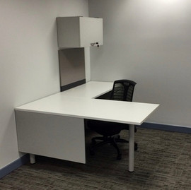L Shaped Desk White with overhead