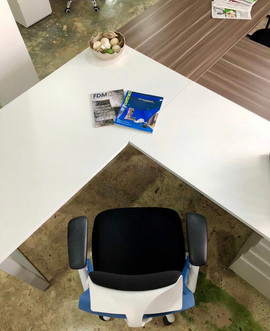 L Shaped Desk White with loops legs grey