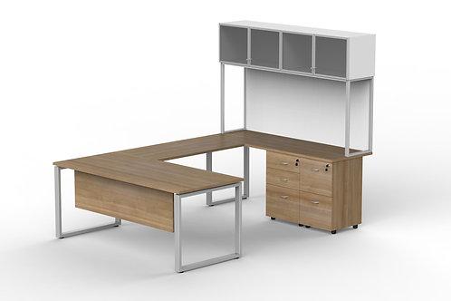 U Simetrical Desk Shape with Hutch