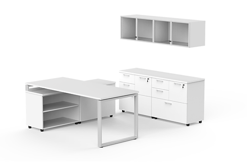 L shape desk with credenza