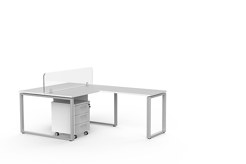 L shaped work station with pedestal