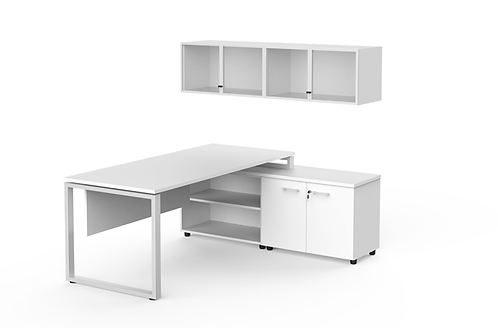 Rectangular desk with glass over head