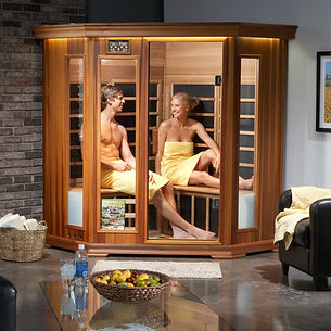 Couple Enjoying a Sauna Photographed for a commercial  client
