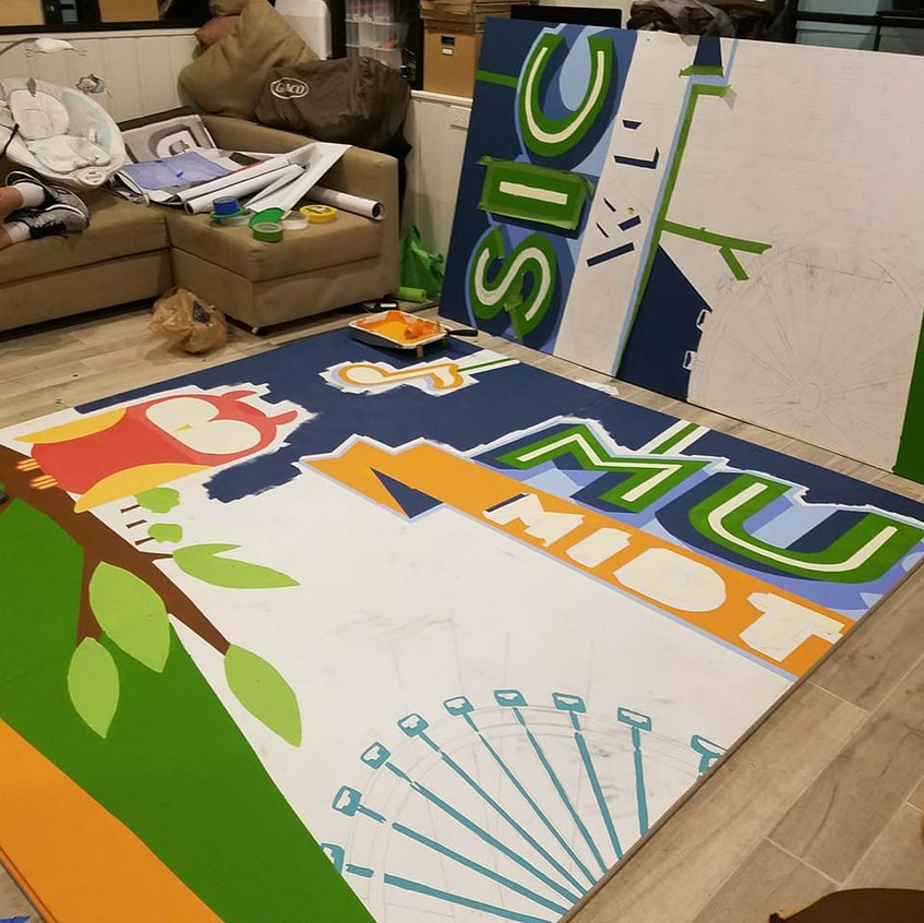 mural panels in progress
