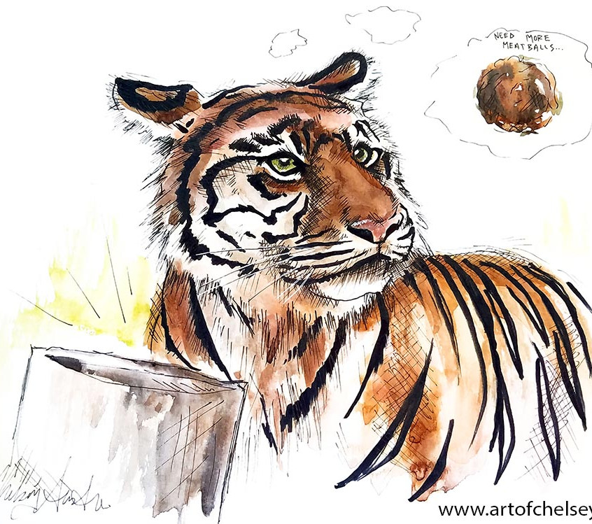Tiger Sketch in Ink and Watercolor