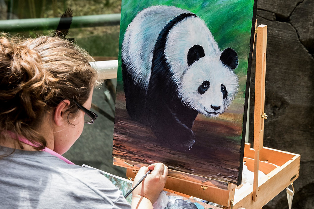 Art Gone Wild Panda being painted in Acrylic