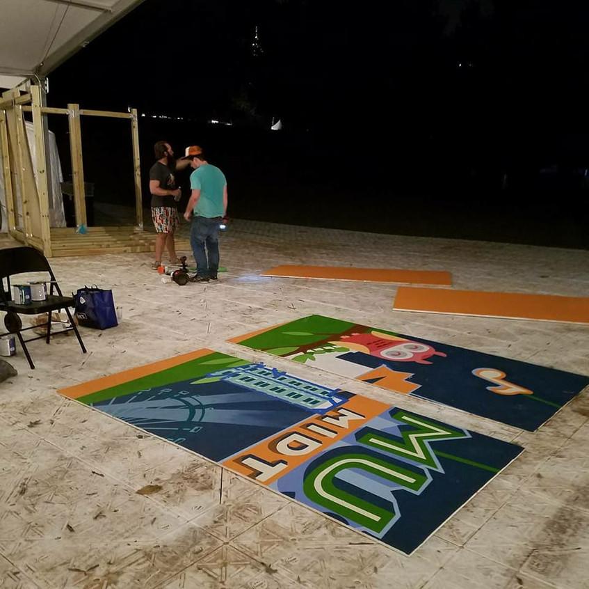 mural being assembled