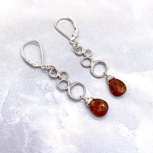 Orange Kyanite Briolettes on Sterling Earrings