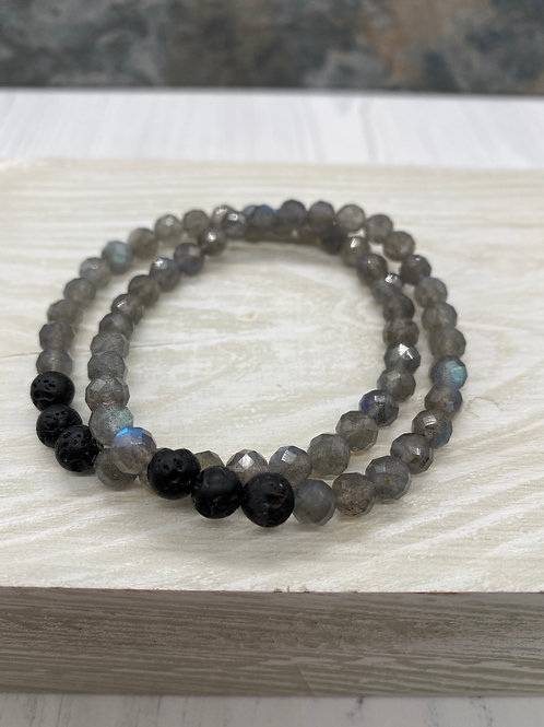 Labradorite and Lava Bead Stretch Bracelet