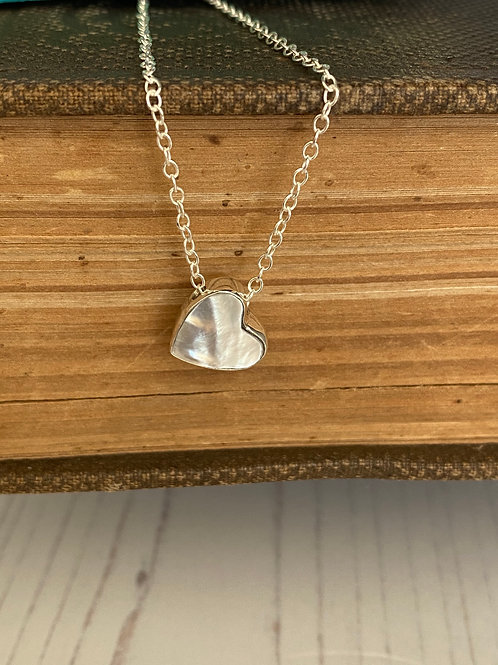Mother of Pearl Sliding Heart Necklace