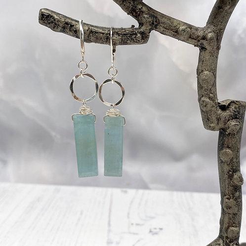 Aquamarine and Circles Earrings