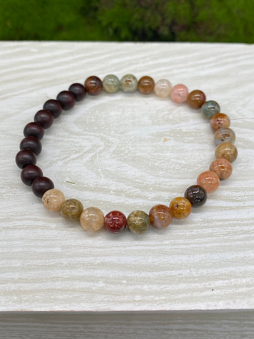 Moss Agate and Wood Stretch Bracelet