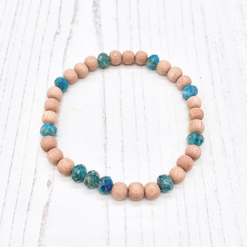Apatite and Rosewood Diffuser Stretch Bracelet