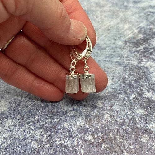 Selenite Silver Topped Earrings