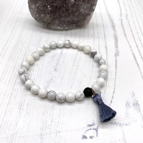 Tassel Diffuser Bracelet with Howlite and Lava Bead
