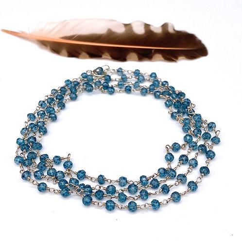 Long London Blue Quartz Rosary Necklace