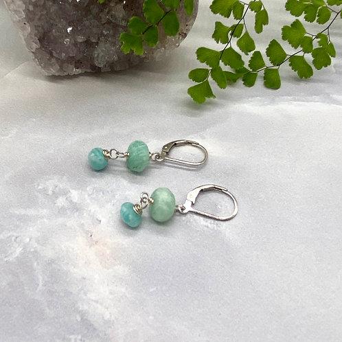Double Drop Green Amazonite Earrings