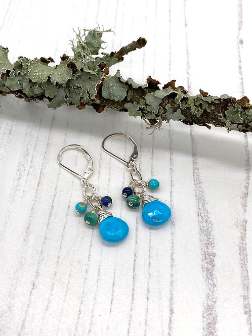 Dangly Turquoise and Lapis Earrings