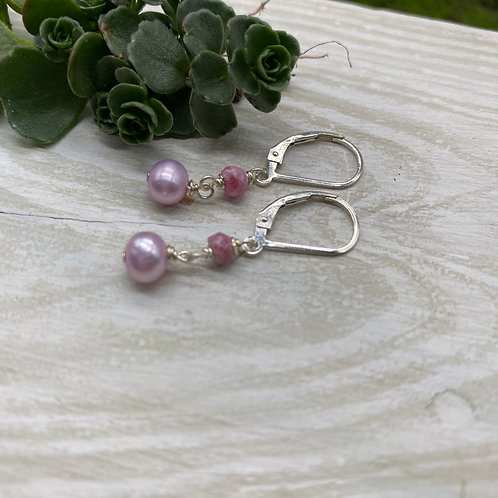 Pink Pearl and Sapphire Earrings
