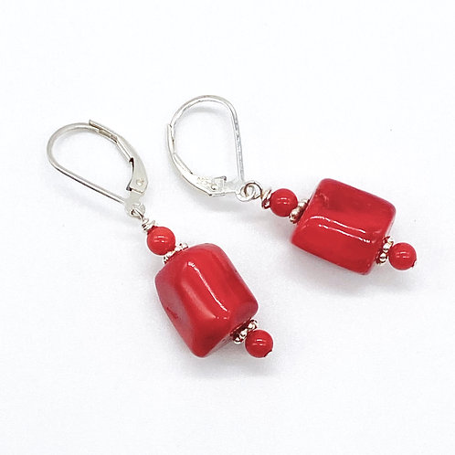 Red Coral Barrel Earrings