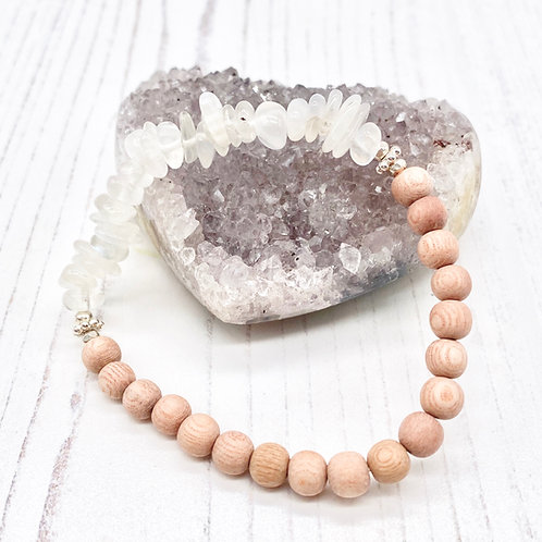 Moonstone and Rosewood Diffuser Stretch Bracelet