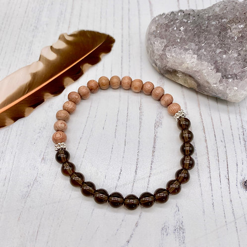Smoky Quartz and Rosewood Diffuser Stretch Bracelet