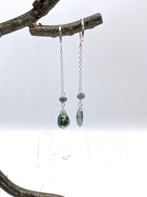 Solar Quartz and Moss Aquamarine Duster Earrings - Moss Collection