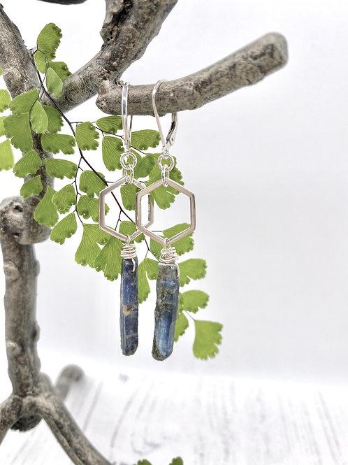 Kyanite Stick on Silver Honeycomb Earrings