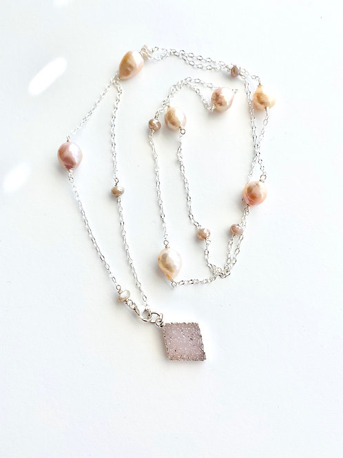 Long Necklace - Druzy, Pearl, Moonstone and Sterling Chain