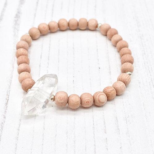 Quartz Point and Rosewood Diffuser Stretch Bracelet