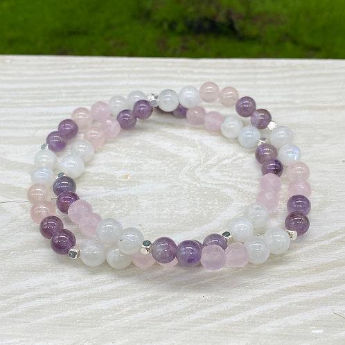 Moonstone, Rose Quartz and Amethyst Stretch Bracelet