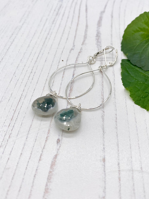 Solar Quartz Sterling Hoop Earrings