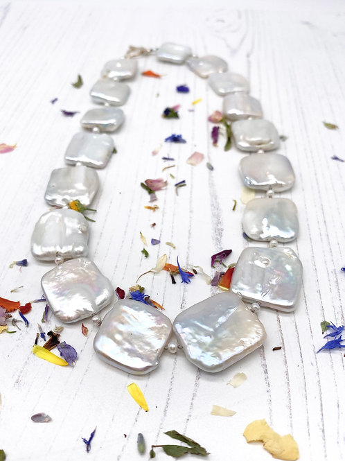 Large Square Coin Pearl Necklace