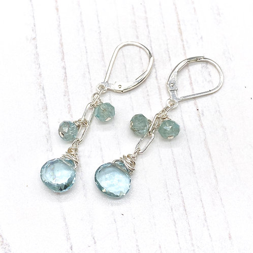 Quartz and Aquamarine Dangle Earrings