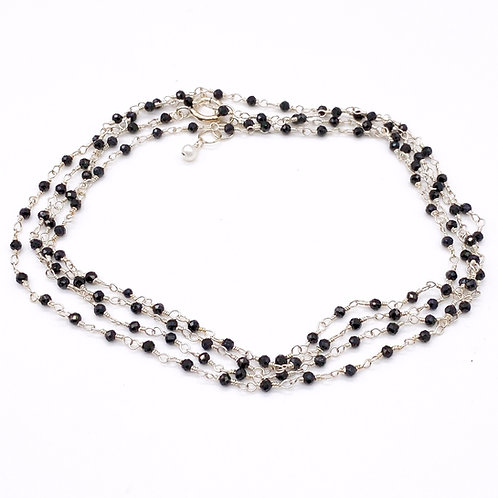 Long Spinel Moonstone Rosary Necklace