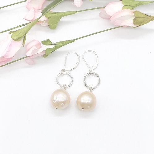 Peach Akoya Pearl on a Circle Earrings