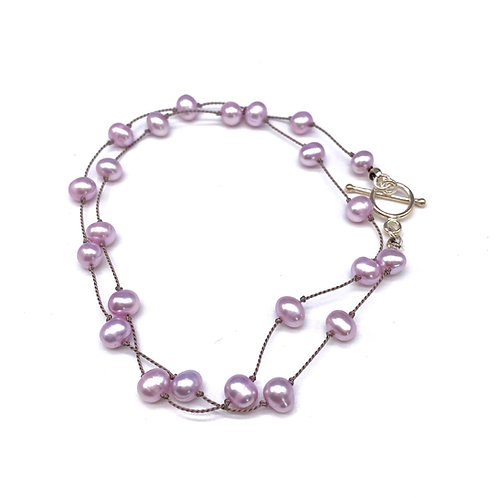 Pink Floating Pearl Necklace