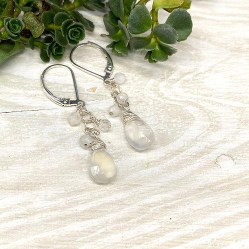 Simple Moonstone Dangle Earrings
