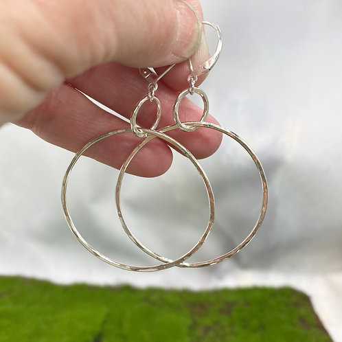 Large Hammered Silver Earrings