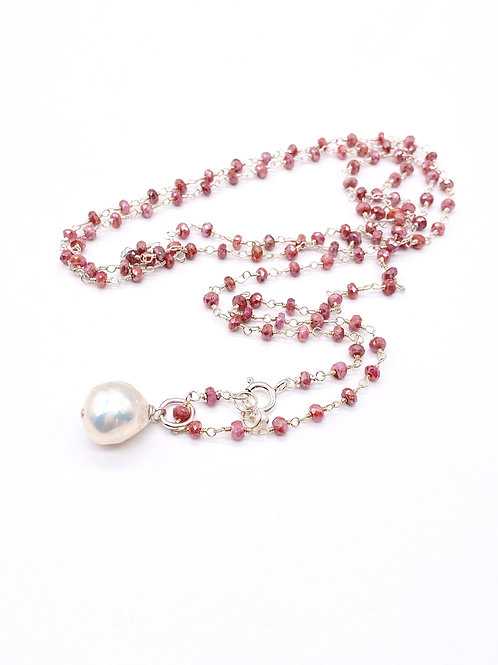 Long Mystic Pink Sapphire Rosary Necklace
