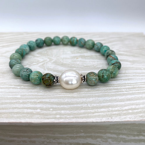 Green Amazonite and Pearl Stretch Bracelet