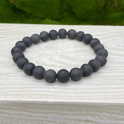 Black Druzy Stretch Bracelet