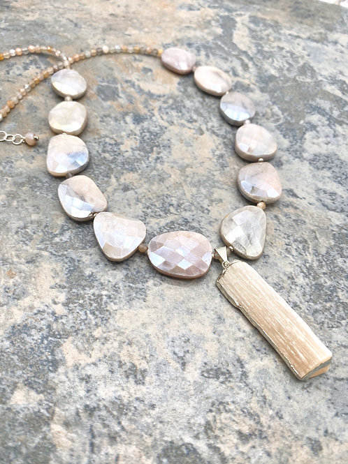 Mystic Moonstone and Selenite Necklace