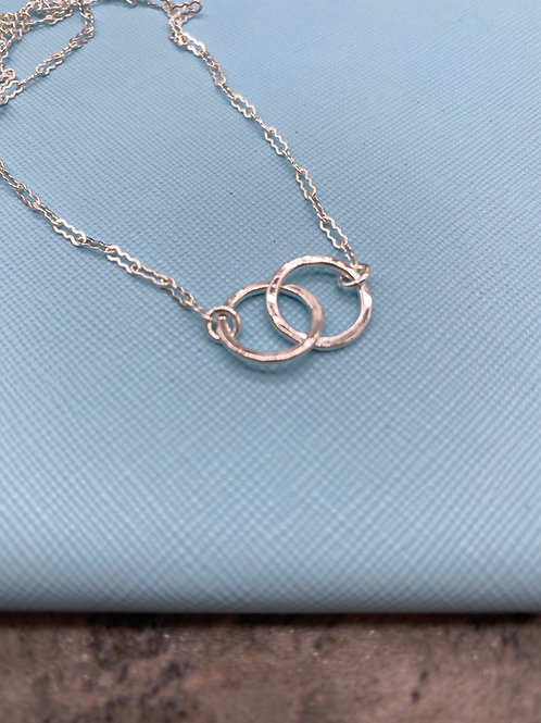 Fine Silver Double Ring Layering Necklace