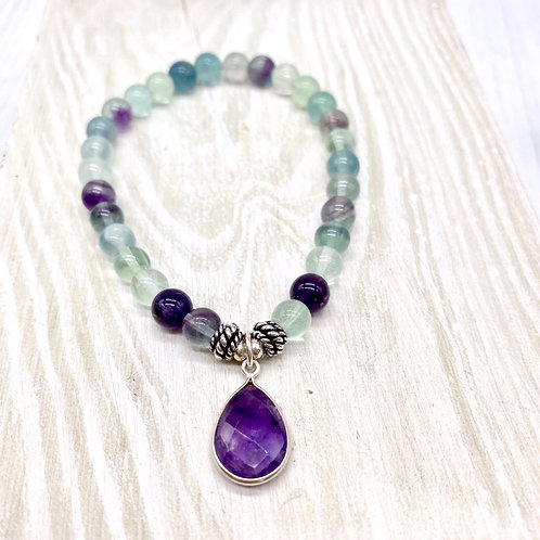 Fluorite and Amethyst Pendant Stretch Bracelet