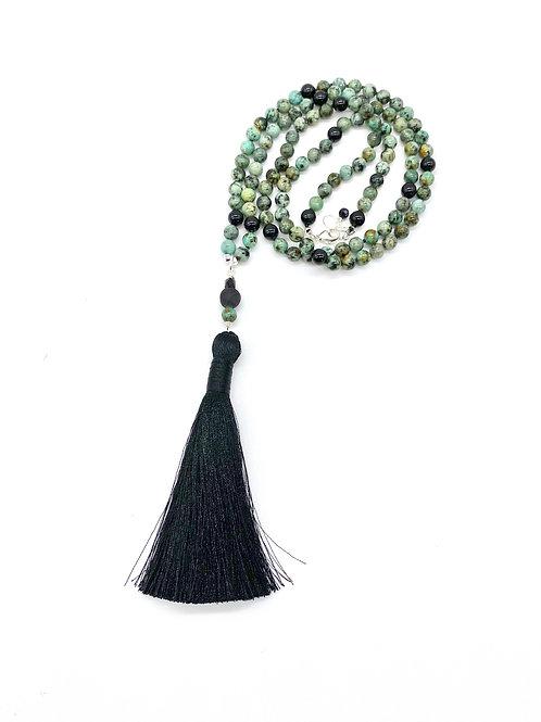Serpentine and Black Tourmaline Tassel Necklace